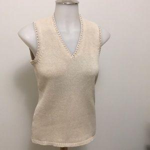 Ann Taylor Silk Knit V Neck Sleeveless Tank SZ Med